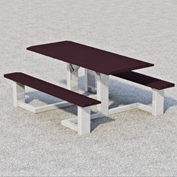 WPTS Square Frame Accessible Picnic Table - Using Formed Steel Channel