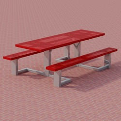 WPTS Square Frame Accessible Picnic Table - Using Perforated Steel